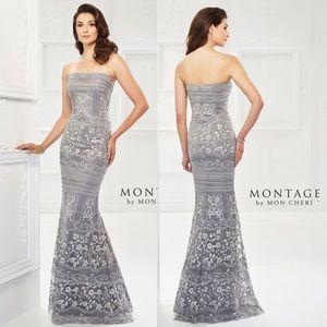 Montage by Mon Cheri lace tulle trumpet gown